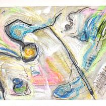 """WATERFALL STUDIES IV"" (6X9) cold wax/oil on paper $75"