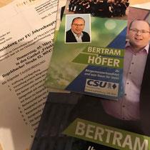Frauen-Union Stein - Einladung JHV und Besuch Betram Hofer CSU Stein