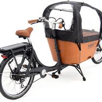 Babboe Lastenfahrrad mit Elektromotor City-E mit Regenverdeck für Kinder