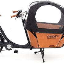 Babboe Lastenfahrrad mit Elektromotor City-E mit Regenschutz für Kinder