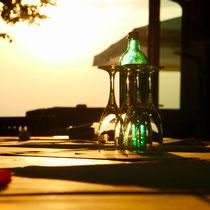 Gläser im Sonnenuntergang