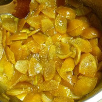 レモンピール作り 砂糖煮中