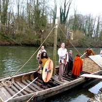 La barque gauloise de Pont-Rémy répond au joli nom d'Abugnata, fille de la rivière en gaulois- Photo: Xavier Togni- CP