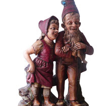"extremly rare !!!!!! very large gnome couple, 38"", Bexbach 1890, for sale"