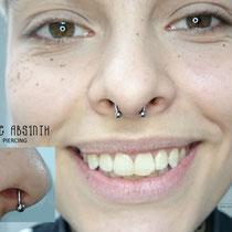 Frisches Septum Piercing mit dem Titanring. Jane Absinth Piercing Düsseldorf