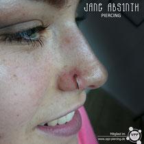Nasenflügelpiercing mit dem D-Ring aus Titan, welcher als Ersteinsatz geeignet ist. Stärke: 1,2mm.