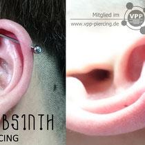 Industrial Piercing mit dem Titanstecker in der Stärke 1,6mm, Jane Absinth Piercing Düsseldorf