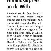 LZ 29th October 2016 Filmmusikpreis an de With, source: Landeszeitung der Lüneburger Heide