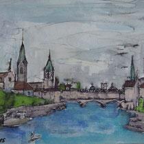 Stadt Zürich - 2015 - Aquarell auf Papier - 21x15 cm - Nicht erhältlich