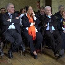 Mathilde Feld, Jean-Marie Darmian, Martine Faure, Philippe Madrelle, Françoise Cartron. Remise de l'Ordre national du Mérite à Suzette Grel. 7 février 2015