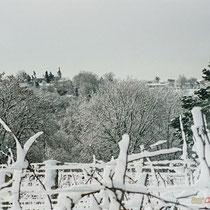 Vignoble et église Saint-André de Cénac sous la neige. Commune de Cénac, 25 janvier 2007