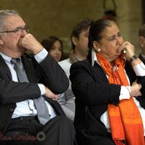 Jean-Marie Darmian, Martine Faure écoutent Françoise Cartron, Vice-présidente du Sénat. Remise de l'Ordre national du Mérite à Suzette Grel. Le Pout. 7 février 2015