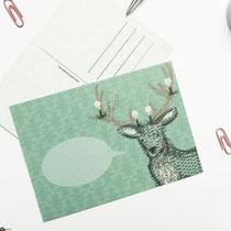 Postkarte Hirsch mit Sprechblase