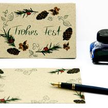 Postkarte Frohes Fest aus Graspapier -ausverkauft-