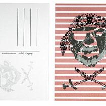 Postkarte Pirat rot