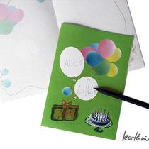 Glückwunschkarte Luftballons: ausgefüllt