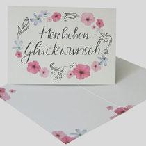 """kleine Karte """"Glückwunsch"""" Format DIN A7 mit Umschlag"""