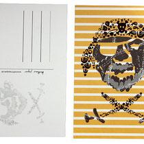 Postkarte Pirat gelb