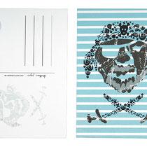Postkarte Pirat blau