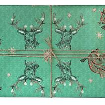 Geschenkpapier Weihnachten Hirsch Eichhörnchen
