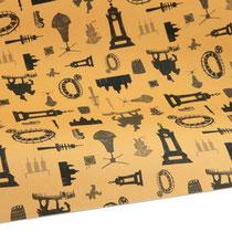Geschenkpapier Hannover gelb, Recyclingpapier, DIN A1