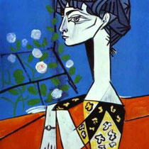 Jacqueline avec fleurs (1954)