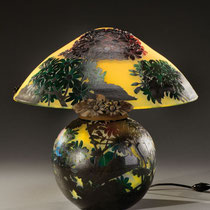Lampe de table champignon en verre multicouches (vers 1900)