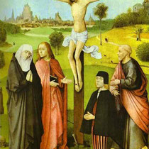 Christ on Cross with Donors and Saints (?)