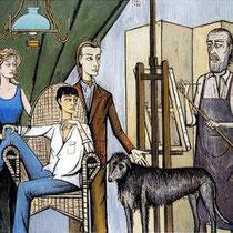 Famille, Daniele, Annabel, Nicolas et Bernard Buffet (1993)