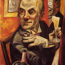 Self portrait with Champagne glass (1919)