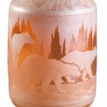 Ours polaires vase en verre double (?)