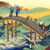 Voyageurs sur un pont (?)