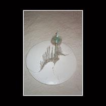 jardinière elliptique (diam 40/ H 50cm)  -  verre, sable, platre enduit et peint