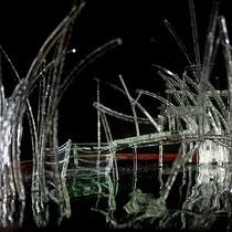 Mon petit coin de bayou - vitrine en verre clair de 3 mm : 27/27/40 cm / socle en padouk d'afrique de 36/36 cm