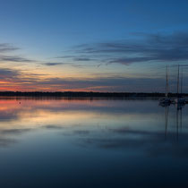 Sunset panorama with boats