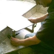 la preparazione delle pedanette alla altezza scalino