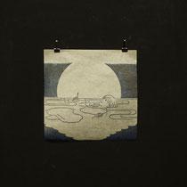 うきよのまどのうち 2011 木版画、雁皮紙 13×13cm 個人蔵