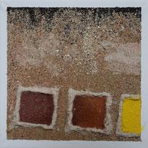 série d'ocre et de sable, 20 x 20 cm, vendu