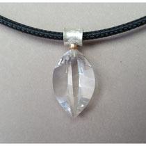 Bergkristall Anhänger mit Silber und Feingold