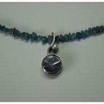 Türkise Diamantkette und 500er Palladium-anhänger mit grauem Turmalin und blauem Diamant