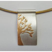 Lebensbaum Anhänger aus 925er Silber und 900er Gold / 390,- €