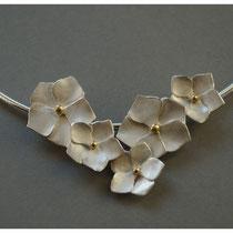 Hortensie 925er Silber mit Feingold / 460,-€