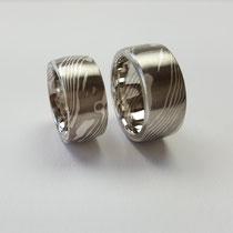 Mokume Gane Ringe aus Palladium und Silber
