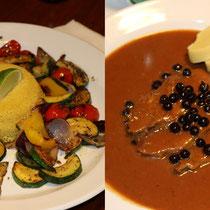 Mittagessen in Pilsen: Vegan / Böhmischer Wildschweinbraten mit Wacholderbeeren in Holundersoße und zweierlei Klößen