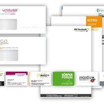 Briefpapier, Visitenkarten, Kuverts, Empfehlungskarten, Rechnungen, Lieferscheine … Gemeinsam mit dem Logo die Basis Ihrer Corporate Identity. Vorausschauendes Design zahlt sich aus, vor allem für meine Kunden.