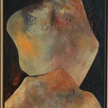 Titel Nr.2: Empfängnis Entstehungsjahr: 1996 Breite: 50 cm, Höhe: 90 cm Acryl, Pigmente, Sand, Kunstharz auf Leinen