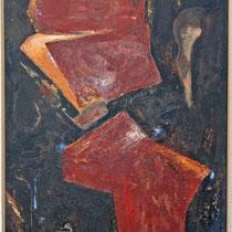 Titel Nr.1: Schichtung Entstehungsjahr: 1996 Breite: 90 cm, Höhe: 140 cm Acryl, Pigmente, Lava, Kunstharz auf Leinen