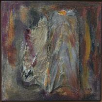 Titel Nr.4: Beziehungskiste Nr.1 Entstehungsjahr: 1995 Breite: 60 cm, Höhe: 60 cm Acryl, Pigmente, Palmfasern auf Leinen
