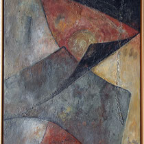 Titel Nr.3: Goldene Münze Entstehungsjahr: 1996 Breite: 65 cm, Höhe: 85 cm Acryl, Pigmente, Sand, Kunstharz auf Leinen