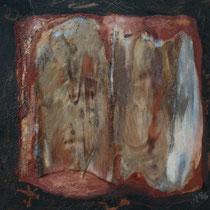 Titel Nr.6: Beziehungskiste Nr.3 Entstehungsjahr: 1995 Breite: 60 cm, Höhe: 60 cm Acryl, Pigmente, Palmfasern auf Leinen
